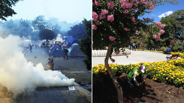 Left image: Gezi park with protestors and police, 15/06/13 and Right image: Gezi park in August 2013