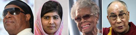 Stevie Wonder, Malala, Maya Angelou and Dalai Lama