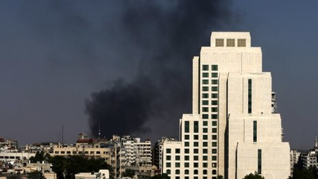 Black columns of smoke rise from heavy shelling in the Jobar neighbourhood in East of Damascus, Syria, on 25 August