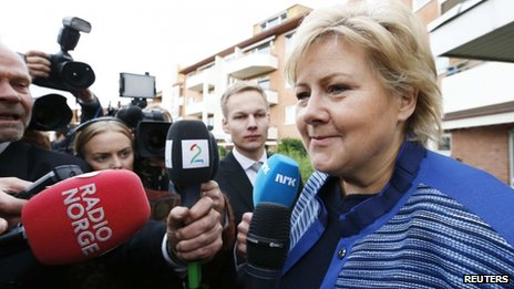 Chairman of the Conservative Party in Norway, Erna Solberg speaks to media (10 September)