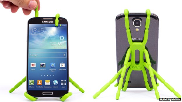 Spiderpodium phone stand seen from front and back