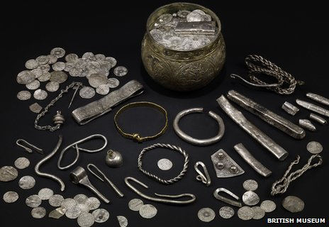 The Vale of York hoard, AD 900s. North Yorkshire, England. Silver-gilt, gold, silver.