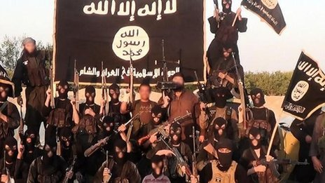 Rebel fighters from Islamic State in Iraq and the Levant