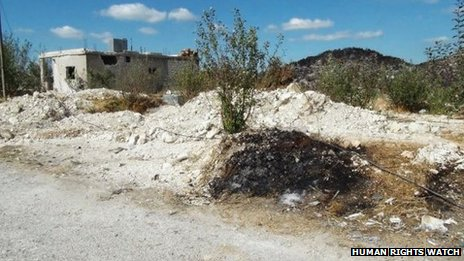 Site of mass grave in the Sleibeh al-Hamboushieh hamlet