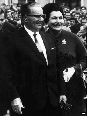 Jovanka Broz (R) with Marshal Tito (L), Montenegro, 1969