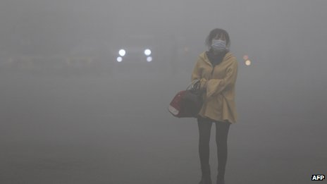 A woman wearing a face mask walks in heavy smog in Harbin, northeast China's Heilongjiang province, 21 October 2013