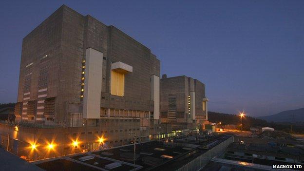 Trawsfynydd power station at night