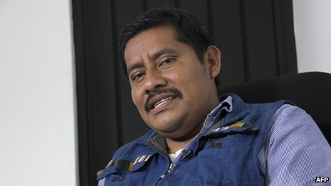 Mexican indigenous teacher Alberto Patishtan is seen in jail in San Cristobal de las Casas on 13 September, 2013