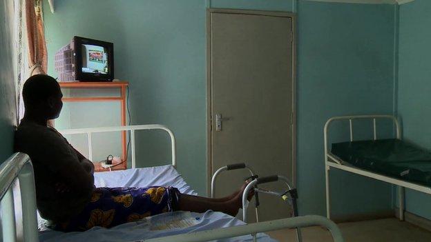 Liz in hospital in Eldoret, Kenya