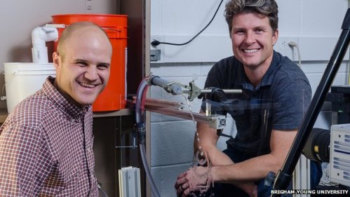 Randy Hurd and Tadd Truscott with their urination simulator