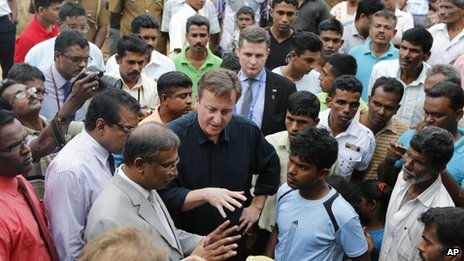 David Cameron meets displaced Tamils living in a refugee camp