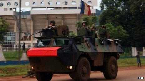 French troops patrol a street in Bangui. Photo: October 2013