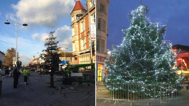 The two trees which went up at Clacton for Christmas