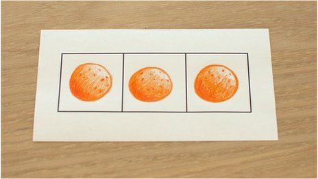 A drawing of 3 oranges in boxes
