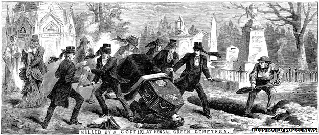 A pall bearer is hit by a coffin. Picture: The British Library Board, Illustrated Police News, November 2, 1872