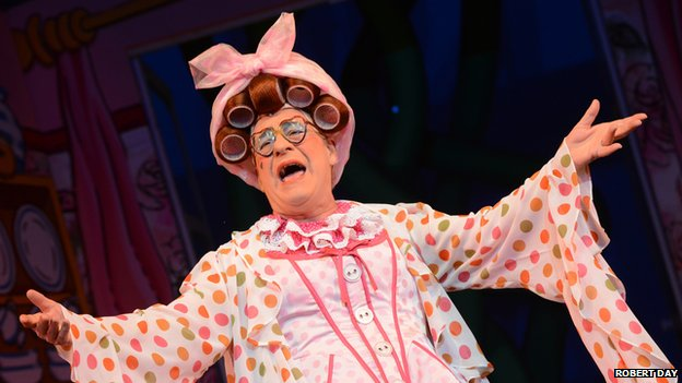 Kenneth Alan Taylor as the dame in the Nottingham Playhouse's production of Jack and the Beanstalk