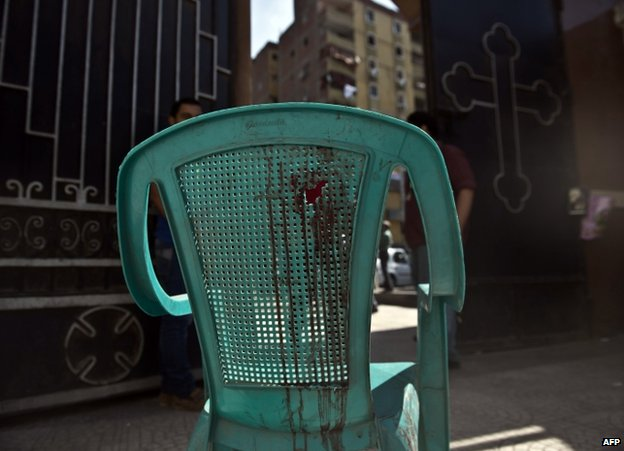 A bloodstained chair outside the Virgin Mary Coptic Christian church in Cairo, 21 October