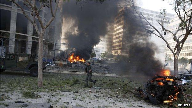Scene after Beirut blast, 27 Dec 13 - screen grab
