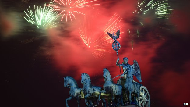 Fireworks over Berlin's Brandenburg Gate