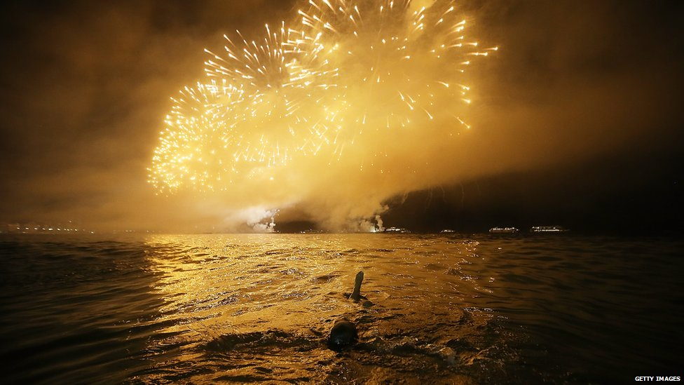 Fireworks over Copacabana Beach, Rio