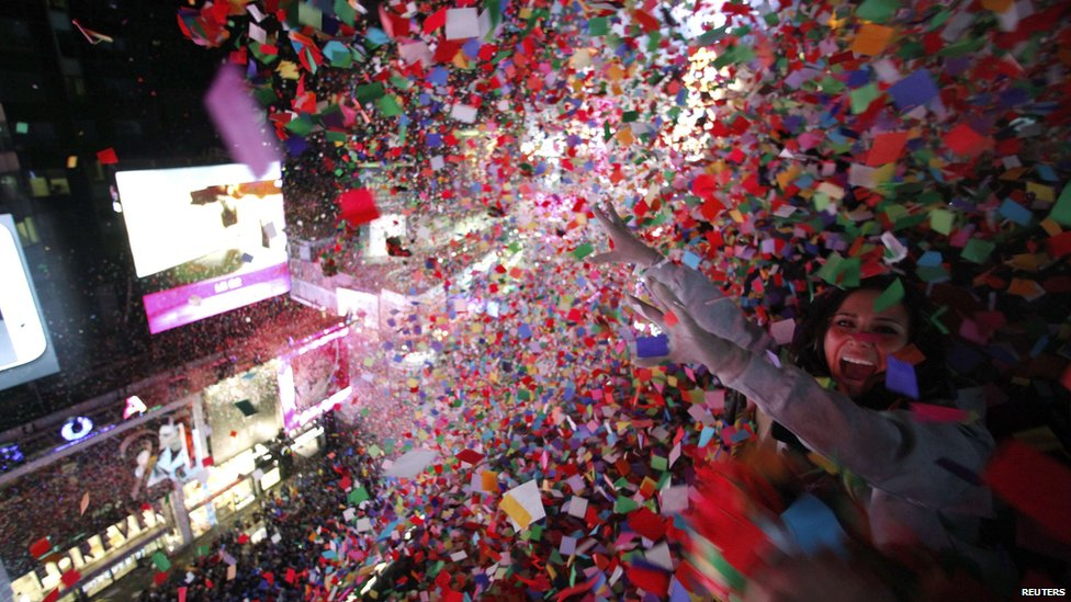 Confetti dropped on revellers during New Year's Eve celebrations in Times Square, New York