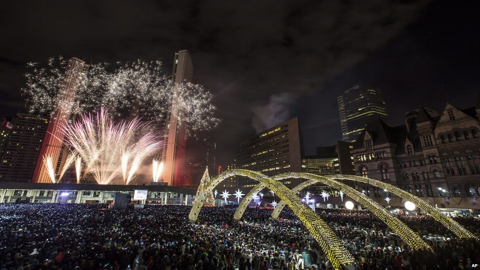 Fireworks in Nathan Phillips Square in Toronto, Canada