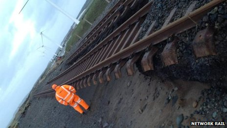The rail line at Siddick in west Cumbria