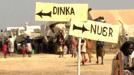 Signposts in Bentiu camp