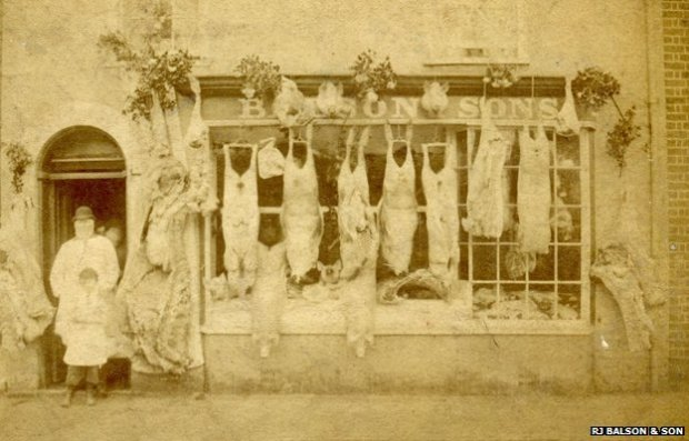 Balson's butchers shop in the 1880s