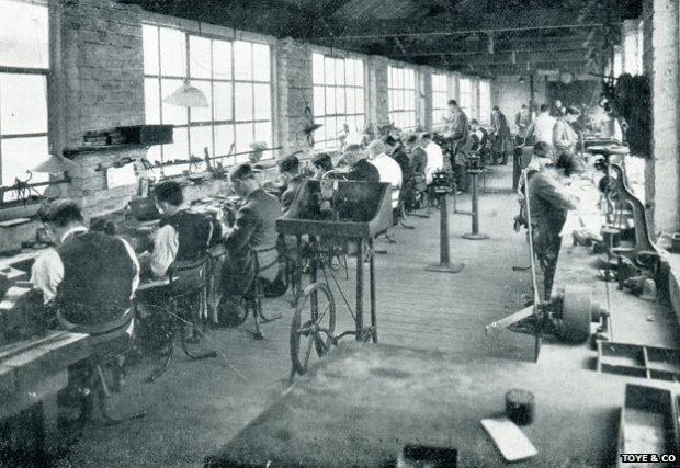 Toye & Co's metal work department in the 1930s