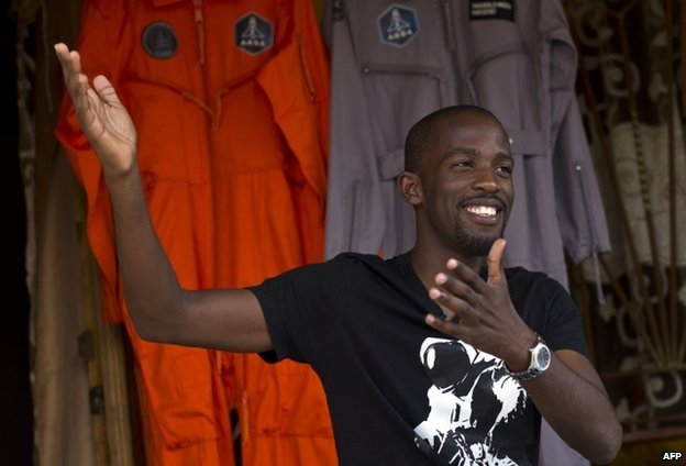 Mandla Maseko with his spacesuits