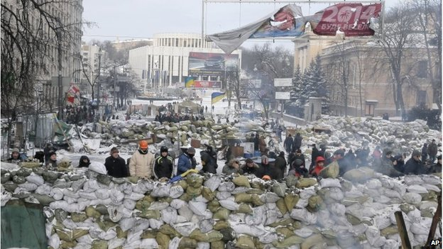 Protesters on barricade in Kiev on 29 Jan 2014
