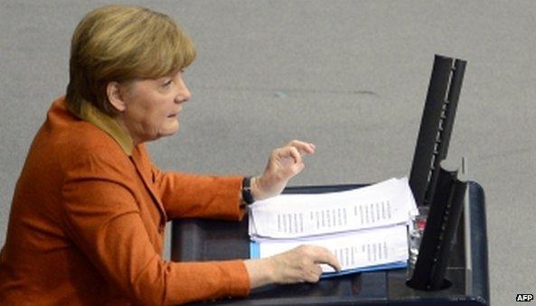 Angela Merkel speaks in parliament (29 January 2014)