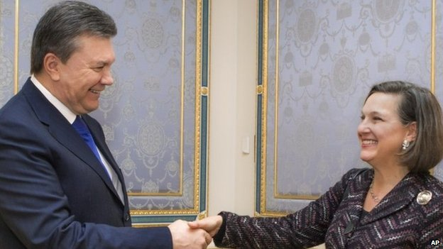 US Assistant Secretary of State Victoria Nuland meets President Viktor Yanukovych in Kiev. Photo: 6 February 2014