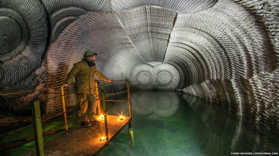 Inside a gypsum mine.