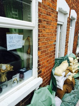 A message in a window on Alney Island, Gloucester