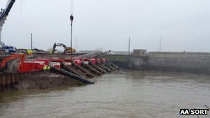 Dutch pumps in action on the Somerset Levels