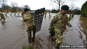 Soldiers from the Royal Gurkha Rifles working in Staines-upon-Thames