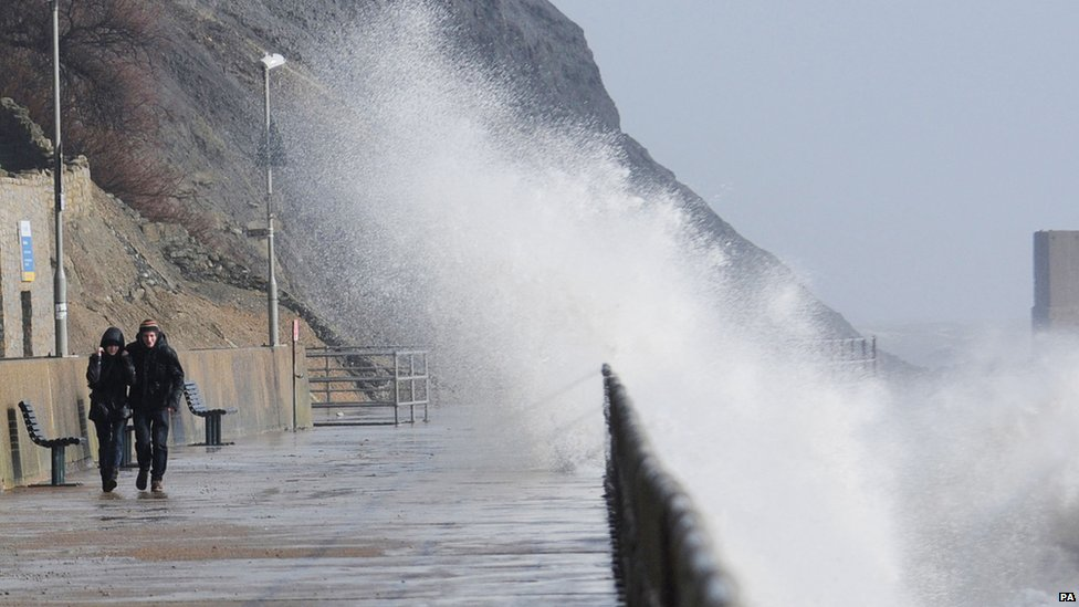 Waves during high tide at Sunny Sands Beach in Folkestone