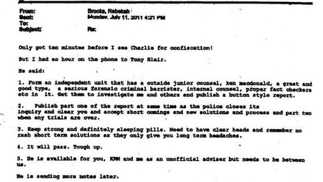 Copy of 2011 Rebekah Brooks email to James Murdoch