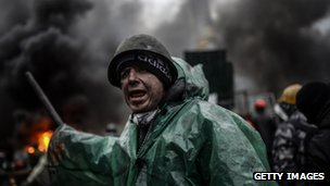 A protester in Kiev, Ukraine