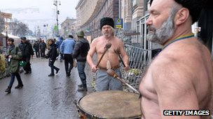 "Ukrainian Cossacks play drums on Kiev""s Independence Square,"