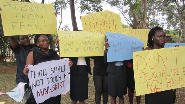 Uganda mini-skirt ban: protests after women were assaulted
