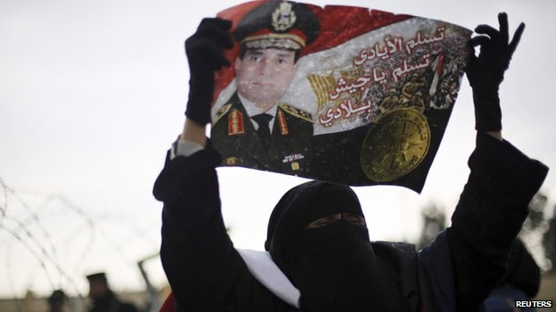 Supporter waves flag of Field Marshal Abdul Fattah al-Sisi in Cairo (16 February 2014)