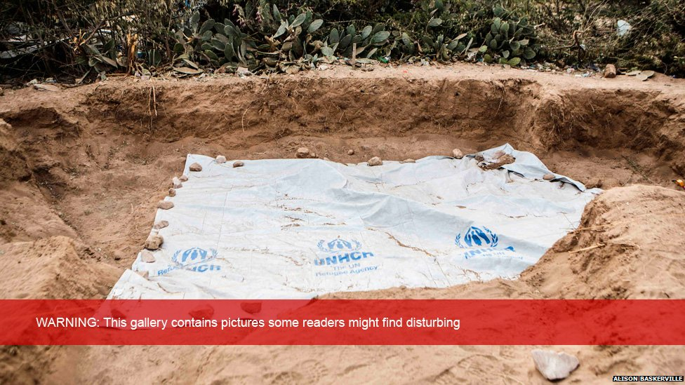 Human remains are revealed in a grave site in the Somaliland capital of Hargeisa