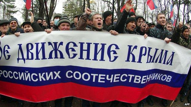 Pro-Russian protest in Crimea, 27 Feb 14