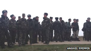 Ukrainian forces at the Blbek base near Sevastopol in Crimea
