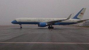 John Kerry arriving in Kiev