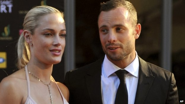 South African Olympic athlete Oscar Pistorius and Reeva Steenkamp pictured in December 2012