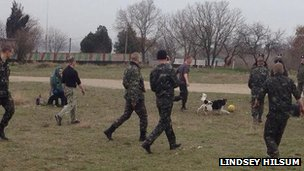 Ukrainian troops play football at Belbek military base on 4 March 2013